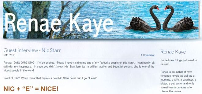 Renae Kaye Nic Starr Guest Blog